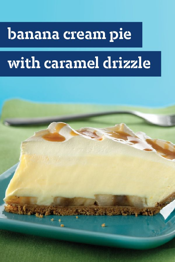 Banana Cream Pie with Caramel Drizzle – This banana cream pie recipe goes the extra mile thanks to a layer of creamy goodness and a drizzle of caramel topping. A dessert treat doesn't get more delicious than this.