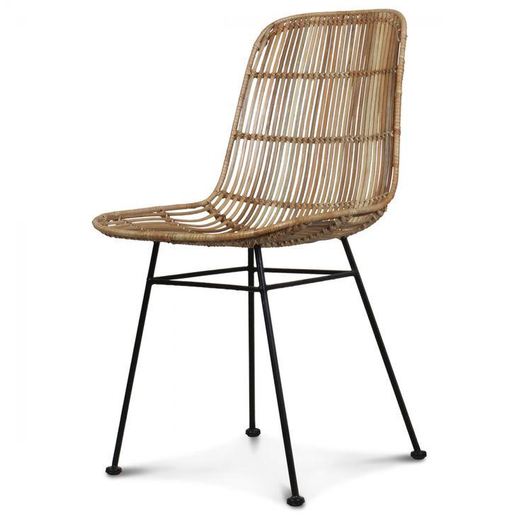 Chaise rotin naturel pieds métal Talia
