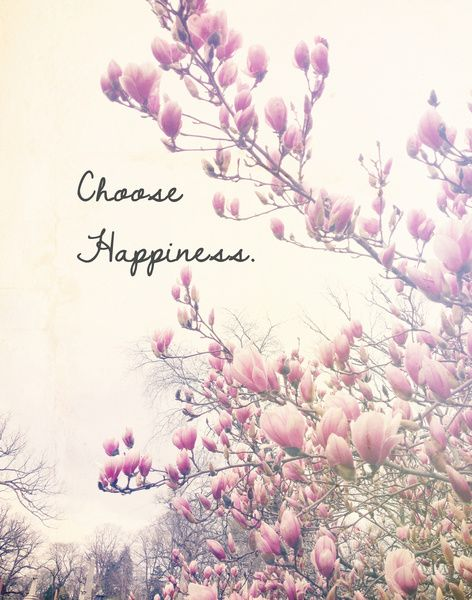 Choose Happiness Art Print, flowers, typography, nature, vintage dreamy