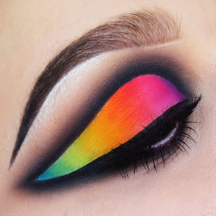 How incredible is this rainbow winged liner piece by @doyouevenblend!? More: http://blog.furlesscosmetics.com/katina-k/