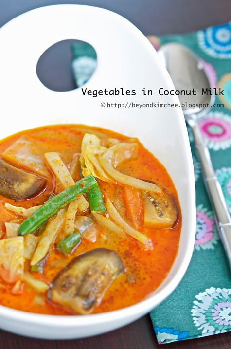 Vegetables in Coconut Milk - Sayur Lemak. Ingredients: cabbage, chayote, carrot beans, eggplant, coconut milk, water, ginger, turmeric, fish sauce, oil. Spice paste: dried shrimps, red chilies, shallots, garlic, water. Recipe on Beyond Kimchee.