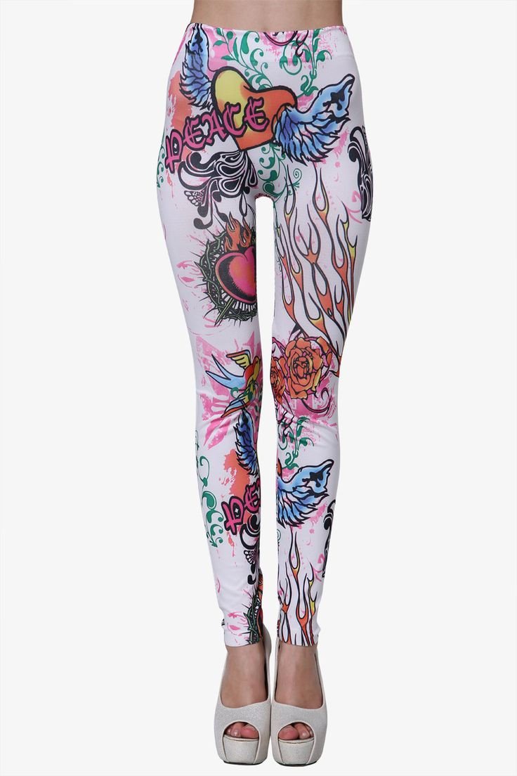 """These white colored fashion style leggings boast an all over Peace motif, they will truly make you stand out on your night on the town! Pair them with your favorite top for a fashionable outfit! These bottoms feature skinny leg styling, no pockets and a high fitted waist.     One size fits most.  Material:Polyester    MeasurementsWaist 25.1"""" - 64cm (stretch)Hips 25.9"""" - 66cmLength 35.0"""" - 89cm     Care: Hand wash     Origin: Made in Guangzhou"""