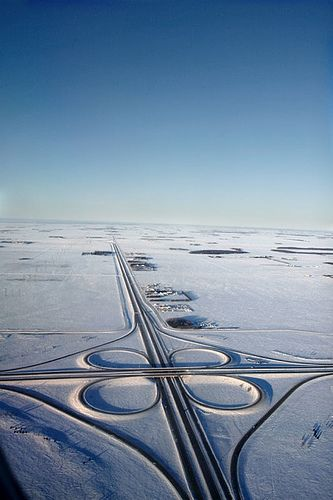 """Paul Galipeau: """"A highway near Winnipeg, MB  This highway/prairie landscape was captured from there air as I descended on Winnipeg, Manitoba."""""""