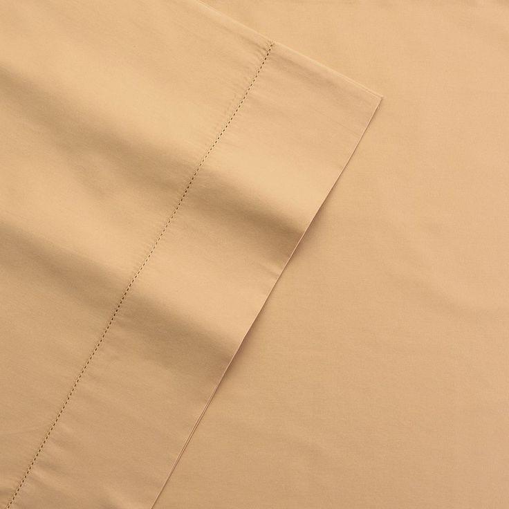 Grand Collection 400 Thread Count Hemstitch Solid Sheet Set, Beig/Green Cal King (Beig/Khaki)