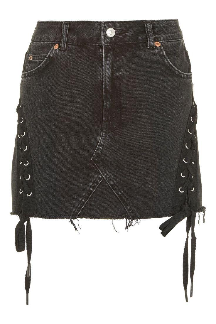 TALL Lace Up Denim Skirt - Denim - Clothing - Topshop USA