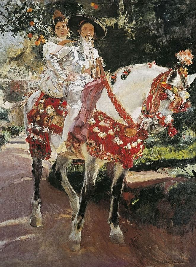 Elena and Maria the Painter's Daughters on Horseback in Valencian Period Costumes, Joaquin Sorolla Y Bastida