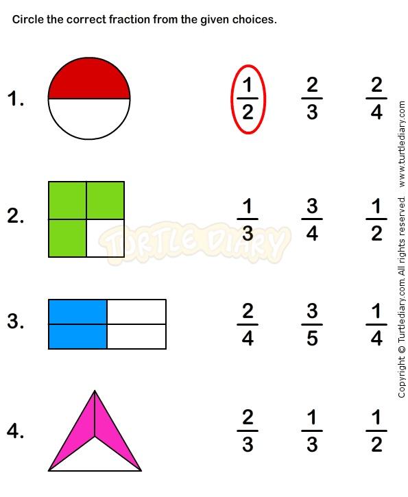 Fractions Worksheet 1 - math Worksheets - grade-1 Worksheets