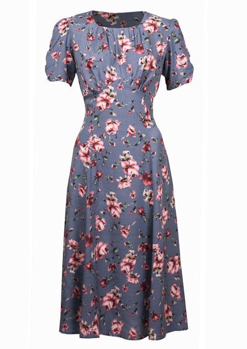40s Tea Dress - Silver rose