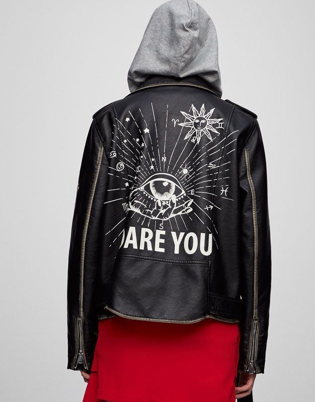 Painted faux leather jacket - Coats and jackets - Clothing - Woman - PULL&BEAR Israel