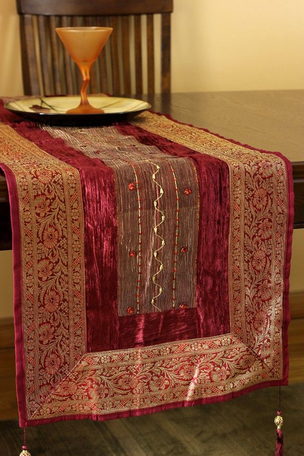Delightful Soft Velvet And Shining Silk Are Weaved Together In This Simply Stunning  And Uniquely Crafted Arabian Velvet Table Runner.