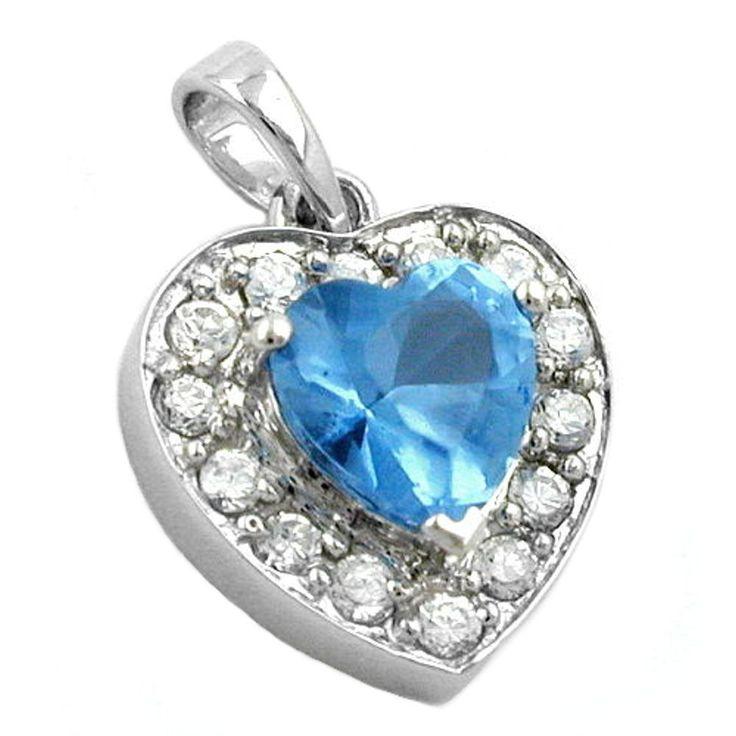 pendant heart blue zirconia crystal silver 925