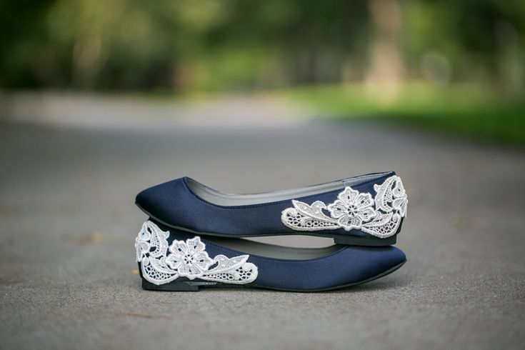 Wedding Flats - Navy Blue Wedding Shoes/Ballet Flats with Ivory Lace. US Size 8. $61.00, via Etsy.