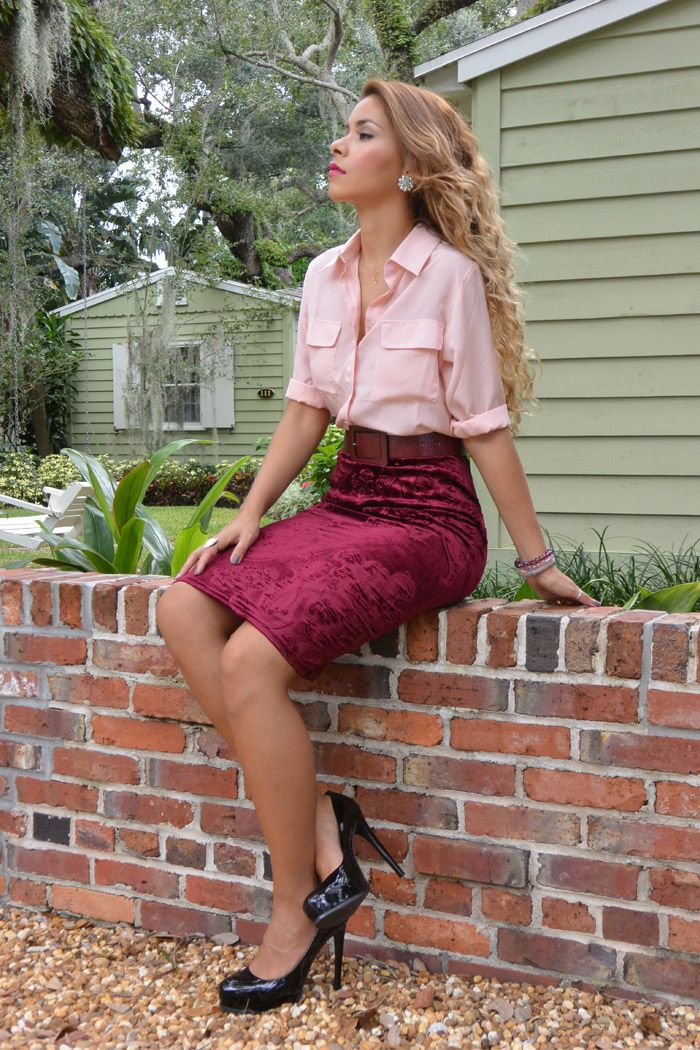 Burgundy Velvet Pencil Skirt Holiday Outfit Fashion
