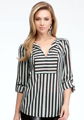 bebe | Tricolor Stripe V-Neck Tunic