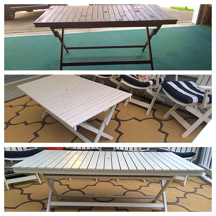 DIY outdoor coffee table | World Market Outdoor Dining Table- adjusted the height on the legs / add white outdoor furniture paint... Done!