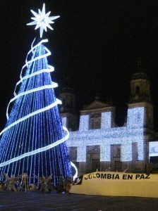 Bogota by night during the christmas season