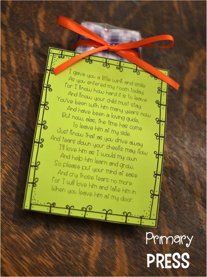 A thoughtful gift for a parent dropping off a child on the first day of school. Attach to a small pack of tissues.