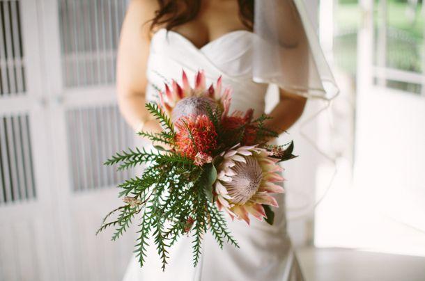 Protea bouquet | SouthBound Bride | http://www.southboundbride.com/fynbos-gold-foodbarn-wedding-by-illuminate-photography | Credit: Illuminate Photography