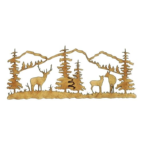 Winter Deer Scene Style 2 - MDF Wood Shape