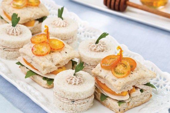 Ham Mousse Tea Sandwiches and Roast Chicken Tea Sandwiches with Honey-Mustard…