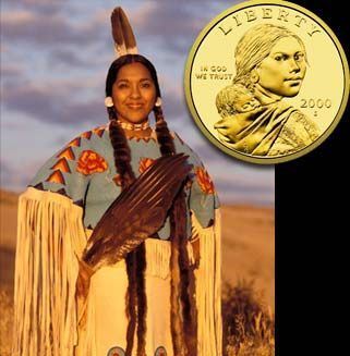 Randy'L He-dow Teton (born 1976) is the Shoshone woman who posed as the model for the US Sacagawea dollar coin, first issued in 2000. She is the first Native American woman to pose for an American coin, still alive today