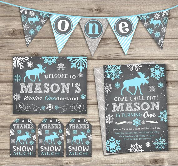 Winter ONEderland Boy Birthday Invitations Arctic Boy by cardmint