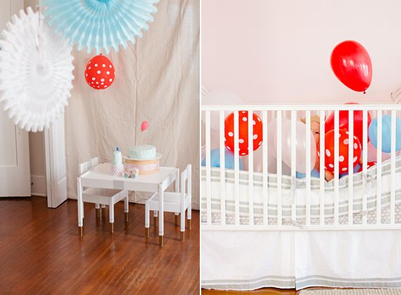 Keats 1st birthday celebration | charleystar | 100 Layer Cakelet - paint little ikea table and chairs