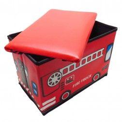 Caixa Organizadora Puff Infantil Caminhão de Bombeiros