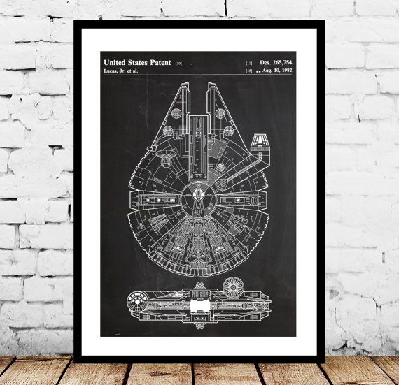 Star Wars Millennium Falcon Star Wars Poster by STANLEYprintHOUSE