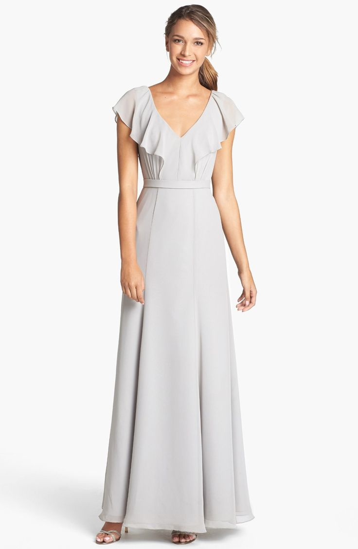 503 best my maids images on pinterest maids dressing and maxi cecilia ruffled v neck chiffon long dress gray bridesmaid ombrellifo Choice Image