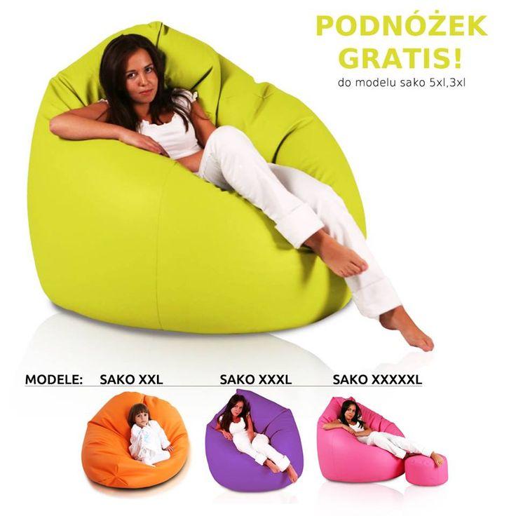 Fotele Sako to pufy w pięknych wiosennych kolorach od limonki i fioletu po klasyczną czerń. Pufa zmienia swój kształt można ją dowolnie formować, zobacz nasze zdjęcia jak możesz na niej wygodnie siedzieć.  http://pufy.pl/worki-sako/114-worek-giga-sako.html  #pufy #fotele #sako #gigasako #darmowapufa #gratispufa #darmowypodnóżek #ładnepufy #kolorowepufy #ekoskóra #poliester