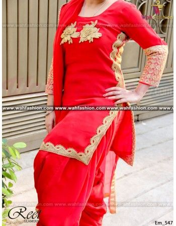Give yourself a stylish & designer look with this Adorable Red Designer Punjabi Suit. Embellished with lace work. Available with matching bottom & dupatta. It will make you noticable in special gathering. You can design this suit in any color combination or on any fabric. Just whatsapp us for more details.  For more details whatsapp us: +919915178418