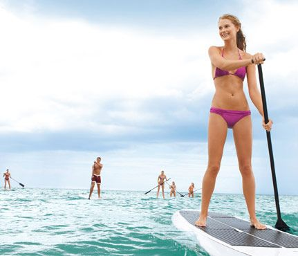 Better Than Dinner-and-a-Movie Dates: Go Stand-Up Paddleboarding (SUP). This trendy core workout makes for a perfect afternoon date because unlike some sweat-inducing activities, it's easy to talk and connect while you're both navigating the open water. #SelfMagazine