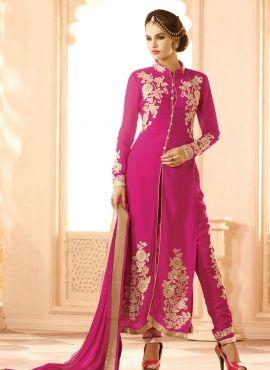 Straight cut Indian Punjabi pant kameez suit in Magenta