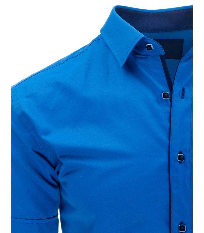 Pánska královsky modrá elegantná košela s krátkym rukávom