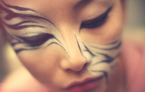 Zebra makeup, so cool!    I would look like a crack head if I ever did this.   Haha