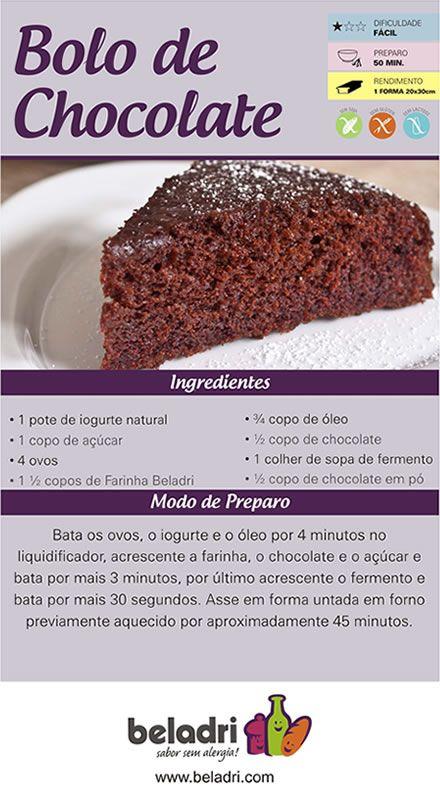 Receita de Bolo de Chocolate sem Glúten! Farinha sem Glúten Beladri você compra online aqui no Empório Ecco. Confira: https://www.emporioecco.com.br/farinha-sem-gluten-beladri