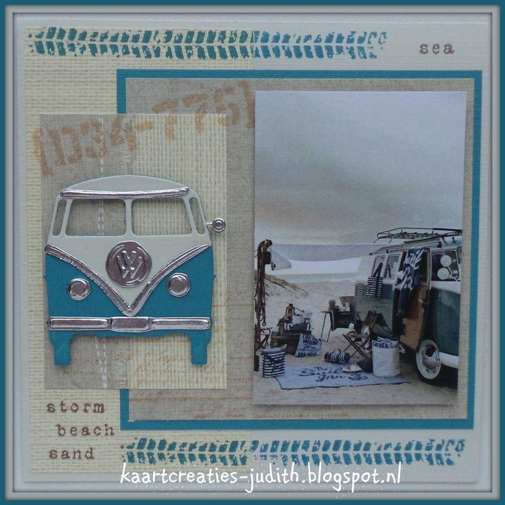 VW Spijlenbus op het strand. LR0359 VW bus PL1520 Bandensporen EC0144 Beach stamps PB7043 Eline's Buitenhuis Syta van Gelderen 140603