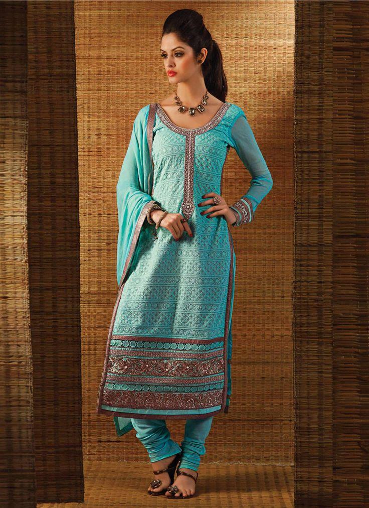 Flattering Turquoise Colour And Georgette Designer Chudidar Suit