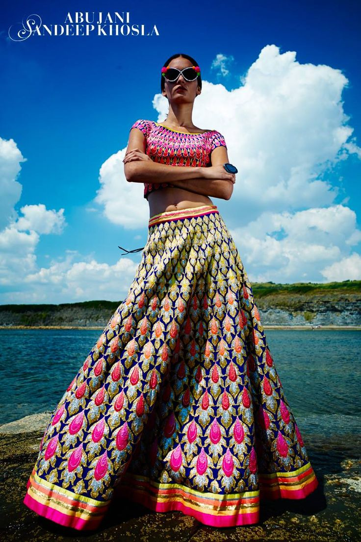 Colourful Embellished Bridal Lehenga. By Abu Jani and Sandeep kholsa. Indian wedding outfit.