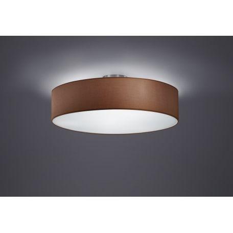 Plafón de techo Texti 3 luces con pantalla en tela color marrón de Trio lighting. Ideal para iluminación general con un consumo mínimo.