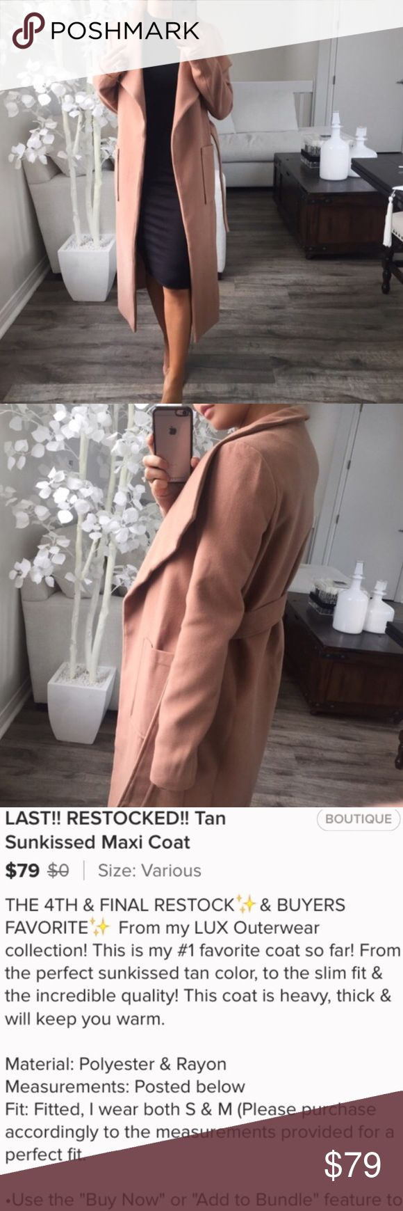 Tan Sunkissed Maxi Coat NWT! From @itselaine's closet. (Photos are hers) I loved this coat the second I saw it & had to have it. I live in Miami & the temperature hasn't dropped low enough for me to wear 😕 I'd rather it go to good use than just sit in my closet. ekAttire Jackets & Coats