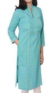 Women Corporate Kurtas,Indian Concepts,Sky Blue Intricate Thread-line Corporate Kurta