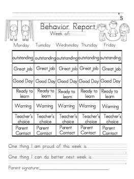Weekly Behavior Report