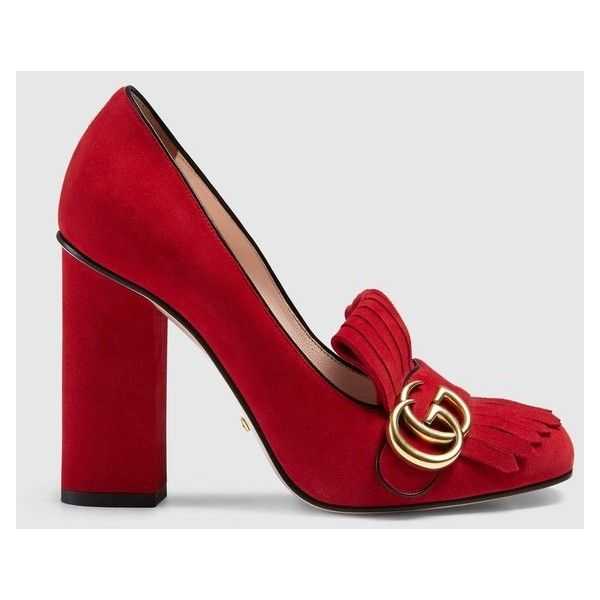 Gucci Suede Pump (€740) ❤ liked on Polyvore featuring shoes, pumps, red suede, high heeled footwear, suede shoes, fringe pumps, red suede shoes and gucci shoes