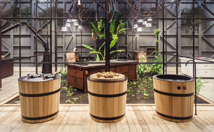 Дубовая раковина и тумбы для кухонной утвари Tinozza