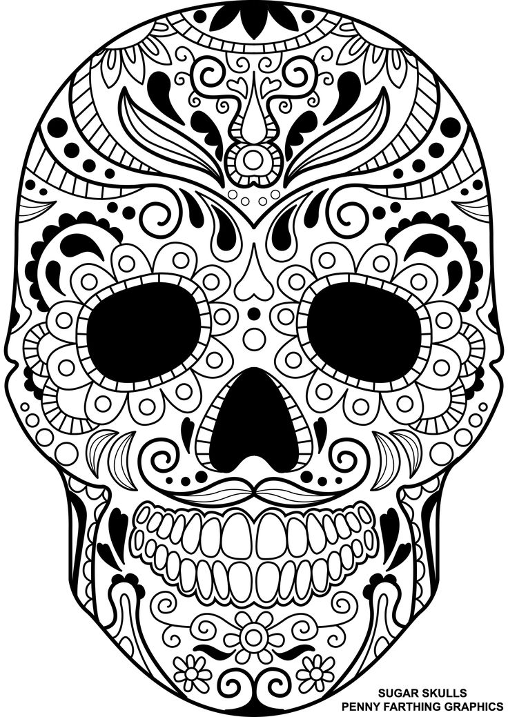 Coloring Pages For Adults Skull : 104 best day of the dead coloring images on pinterest