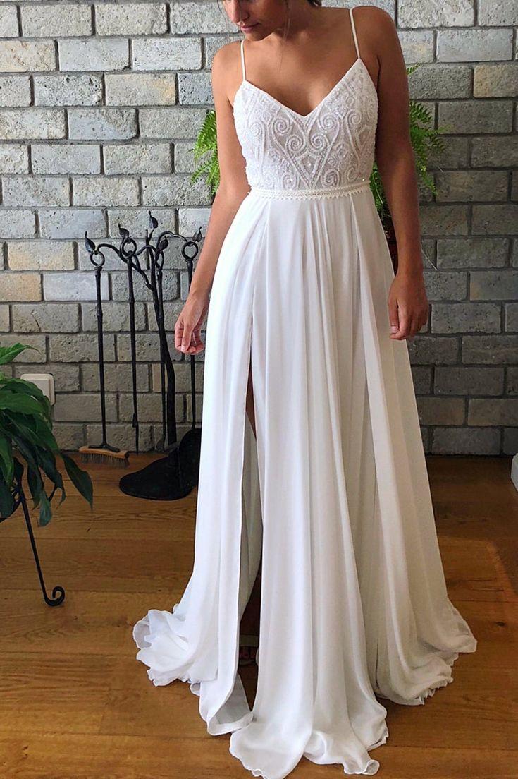 Spaghetti straps Lace Bridal Costume, Ivory/White Wedding ceremony Robe, Open Again Wedding ceremony Costume, Beaded Slit Chiffon Romantic Wedding ceremony Costume,491