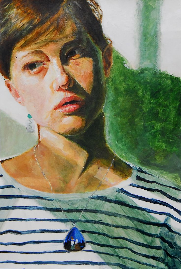 Ms Vingos AS exam piece - self portrait using acrylic paint  - she has gone onto study on an Art foundation course.