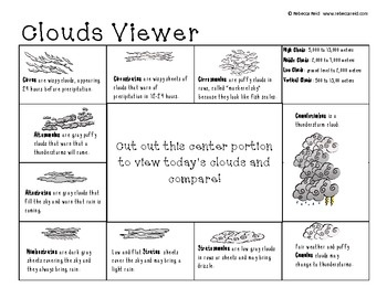 Printables Types Of Clouds Worksheet 1000 images about clouds on pinterest different types of cloud chart bonus viewer included